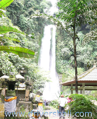 temple at gitgit waterfall bali