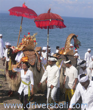holy barong during melasti ceremony